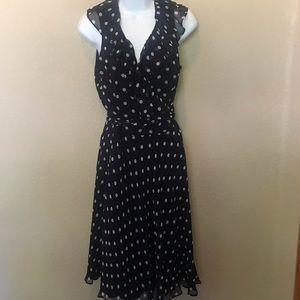 Lauren Ralph Lauren Navy Blue dotted wrap dress 8